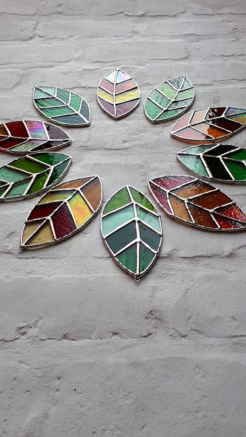 Stained glass leaves suncatchers 5