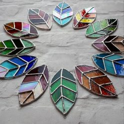 Stained glass leaves suncatchers 10