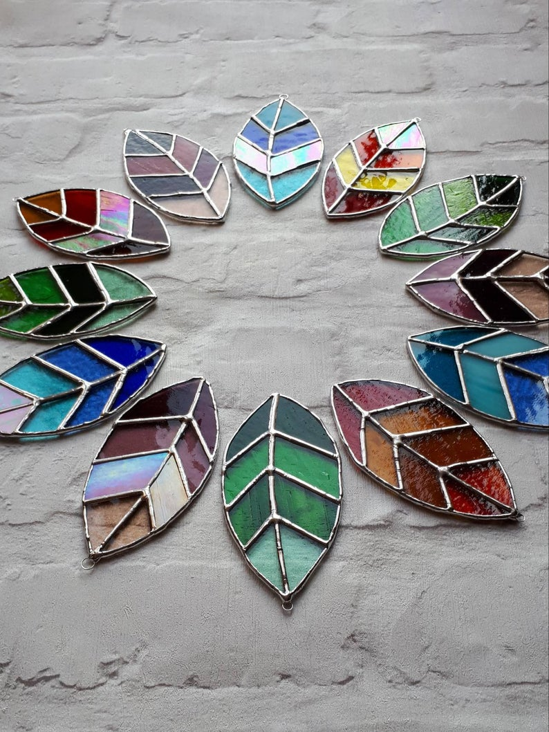 Stained glass leaves suncatchers 4