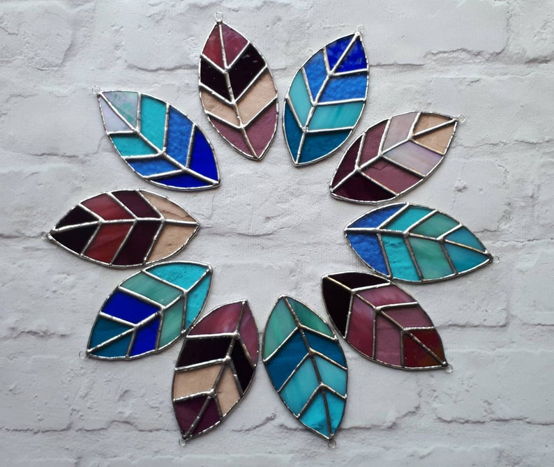 Stained glass leaves suncatchers 3