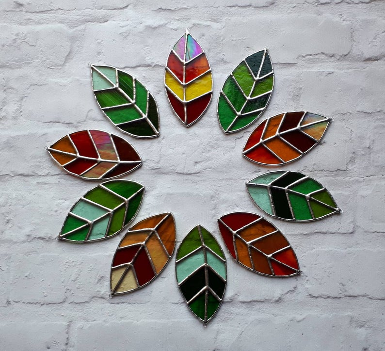 Stained glass leaves suncatchers 2