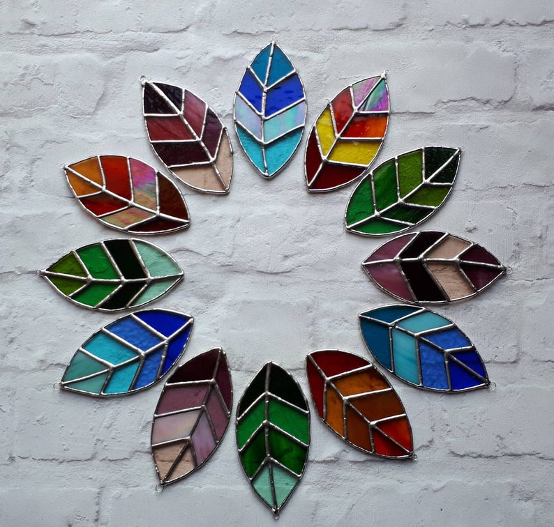 Stained glass leaves suncatchers 1