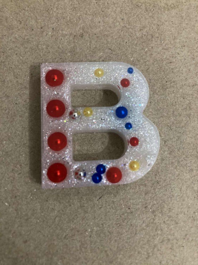 Resin letter B key chain or plain 1