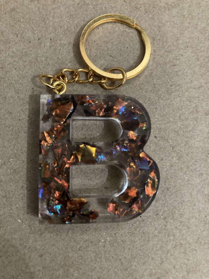Resin letter B key chain or plain 2