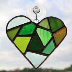 Stained glass mosaic heart suncatcher 14