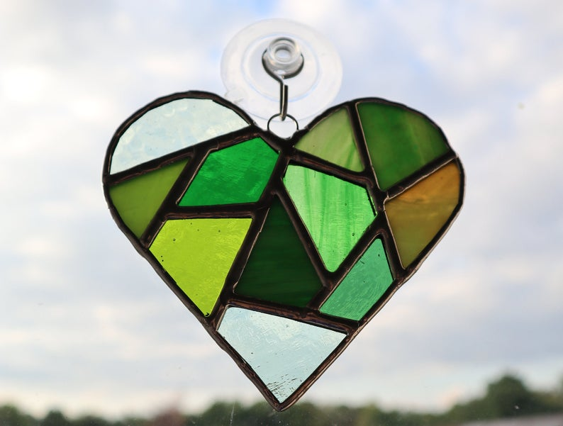 Stained glass mosaic heart suncatcher 7