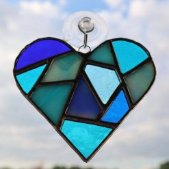 Stained glass mosaic heart suncatcher 15