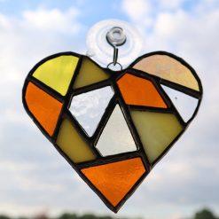 Stained glass mosaic heart suncatcher 13