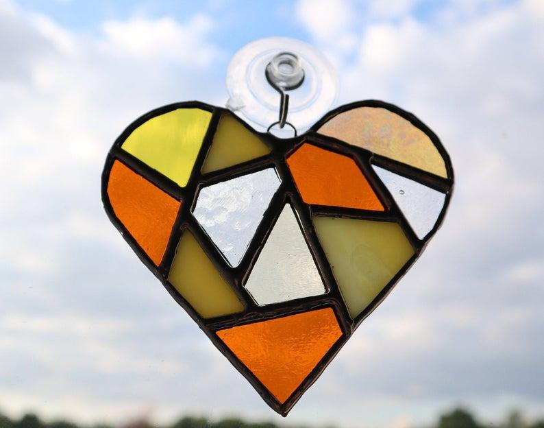 Stained glass mosaic heart suncatcher 6