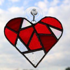 Stained glass mosaic heart suncatcher 12