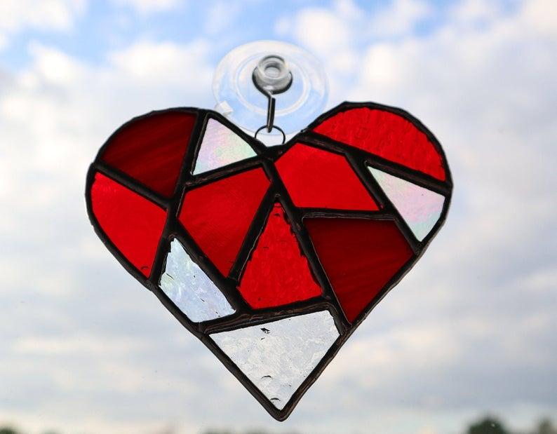 Stained glass mosaic heart suncatcher 5