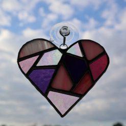 Stained glass mosaic heart suncatcher 11