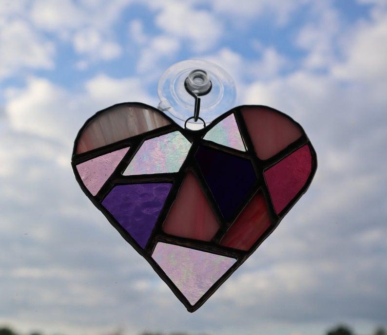 Stained glass mosaic heart suncatcher 4