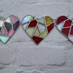 Stained glass mosaic heart suncatcher 10