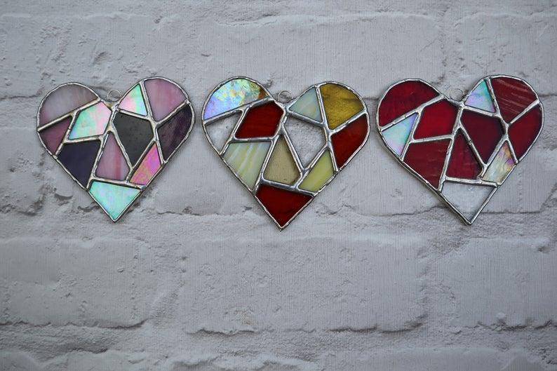 Stained glass mosaic heart suncatcher 3