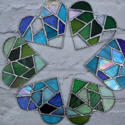 Stained glass mosaic heart suncatcher 9