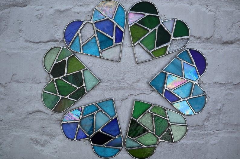Stained glass mosaic heart suncatcher 2
