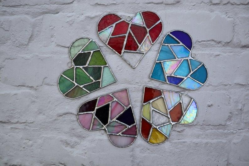 Stained glass mosaic heart suncatcher 1
