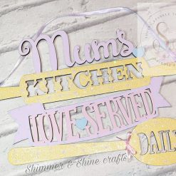 Hanging personalised kitchen plaque