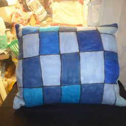 Unique Hand Needle Felted Cushion, Blue Square Pattern. 4