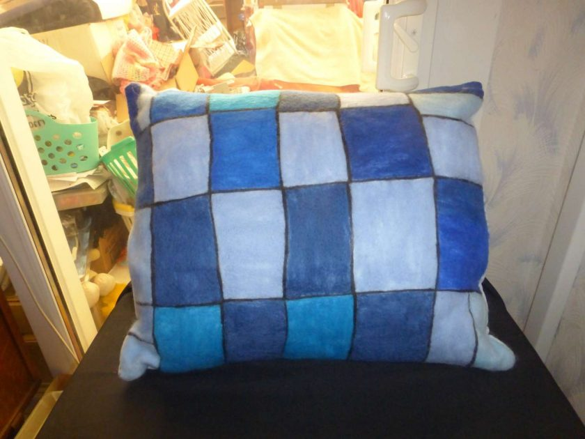 Unique Hand Needle Felted Cushion, Blue Square Pattern. 1