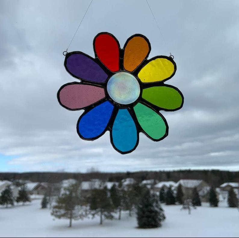 Stained glass rainbow daisy suncatcher 7
