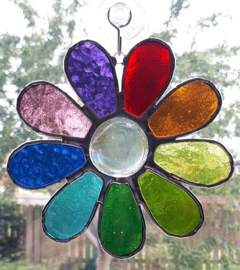 Stained glass rainbow daisy suncatcher 2