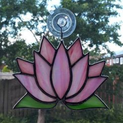 Stained glass Lotus flower / Waterlily suncatcher 9