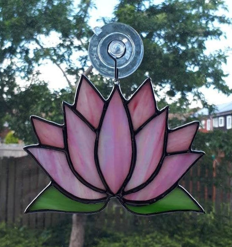 Stained glass Lotus flower / Waterlily suncatcher 4