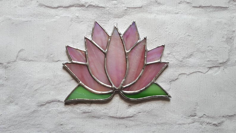 Stained glass Lotus flower / Waterlily suncatcher 2