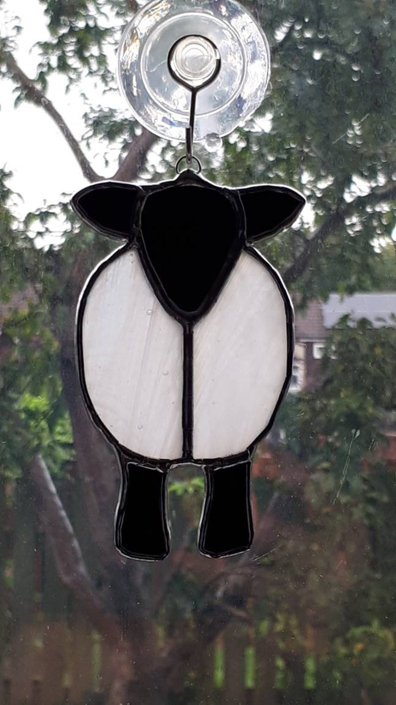 Stained glass sheep suncatcher 5