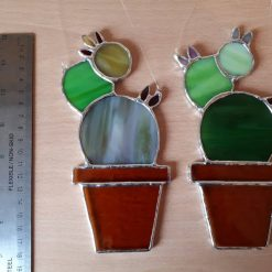 Stained glass cactus suncatchers 17