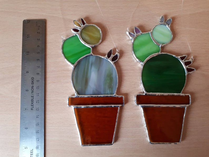 Stained glass cactus suncatchers 9