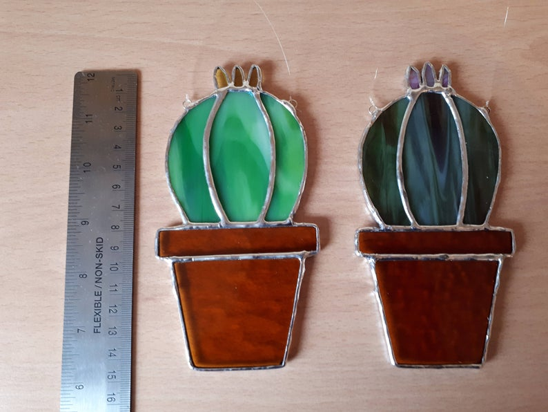 Stained glass cactus suncatchers 8