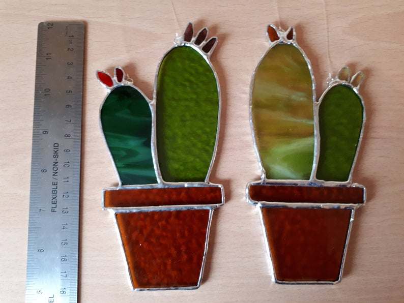 Stained glass cactus suncatchers 7
