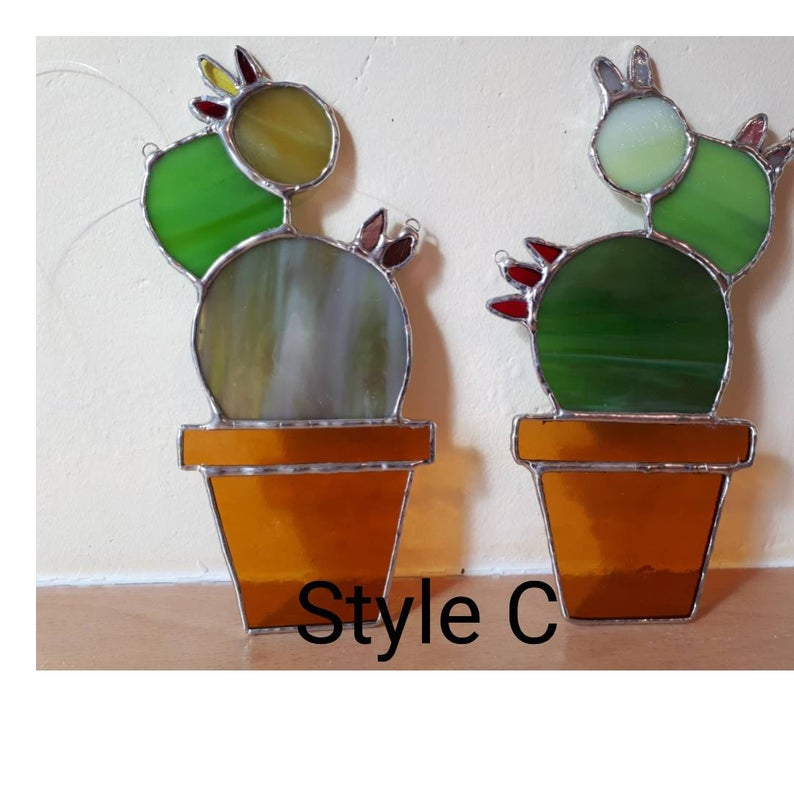 Stained glass cactus suncatchers 6