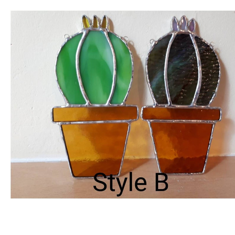 Stained glass cactus suncatchers 5