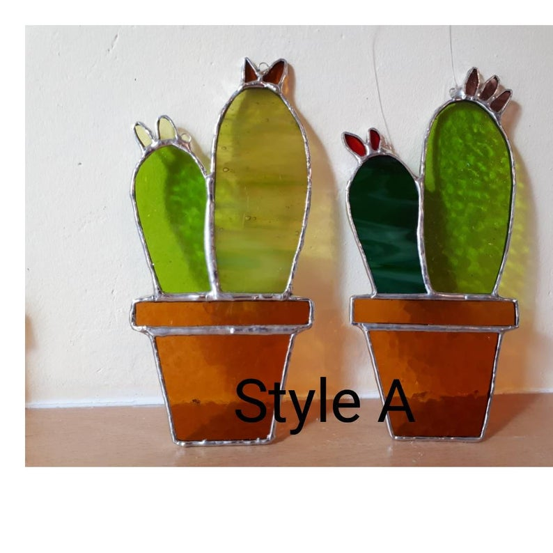 Stained glass cactus suncatchers 4
