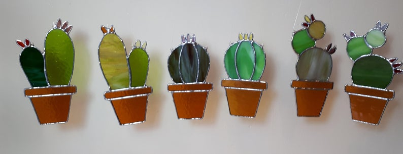 Stained glass cactus suncatchers 3