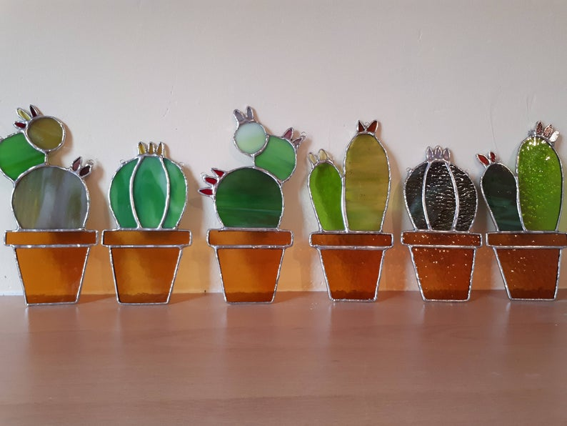 Stained glass cactus suncatchers 2