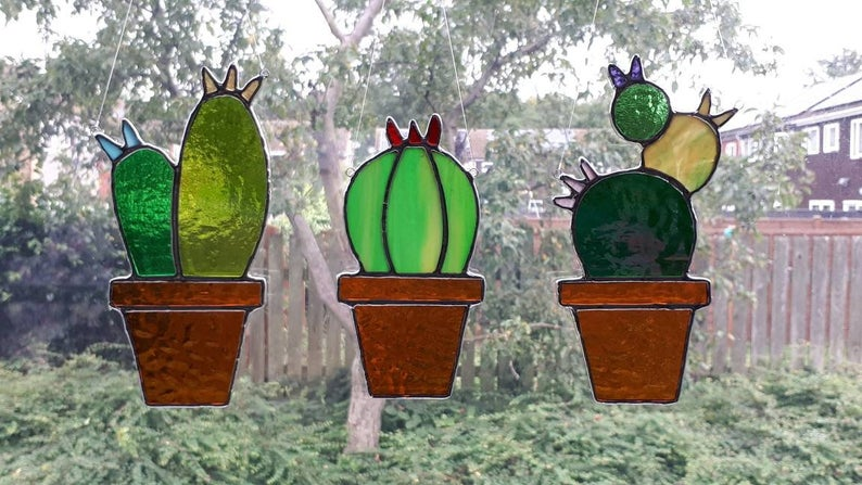 Stained glass cactus suncatchers 1