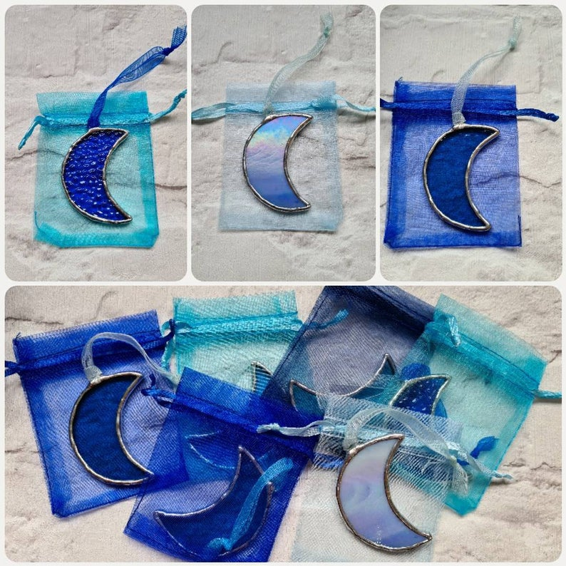 Stained glass mini crescent moon suncatcher or wedding favour 9