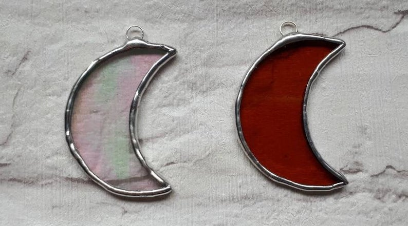 Stained glass mini crescent moon suncatcher or wedding favour 8