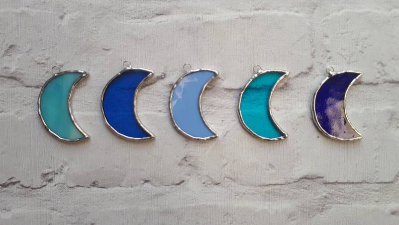 Stained glass mini crescent moon suncatcher or wedding favour 1