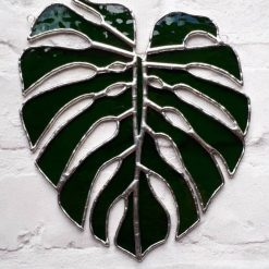 Stained glass Monstera Leaf / Swiss Cheese Plant Suncatcher 11