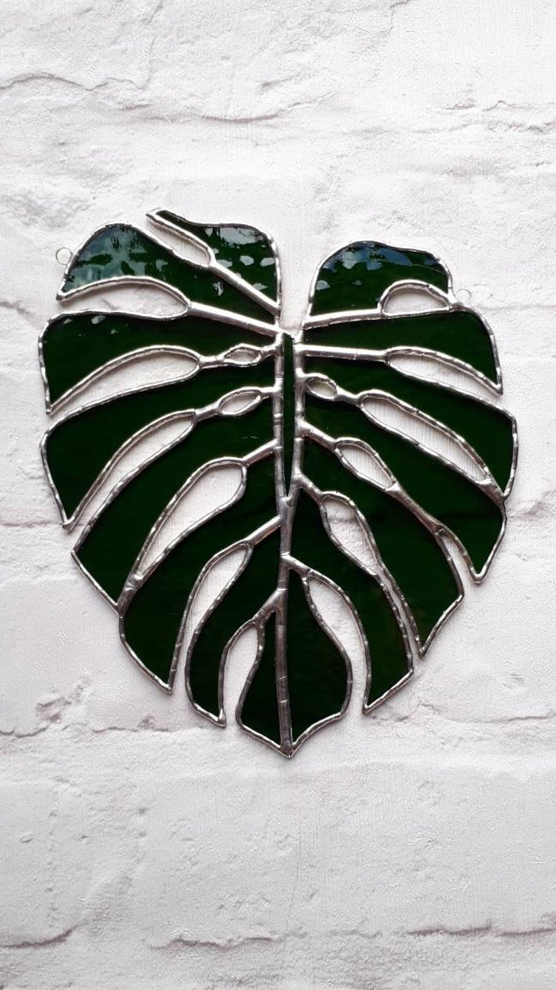 Stained glass Monstera Leaf / Swiss Cheese Plant Suncatcher 6