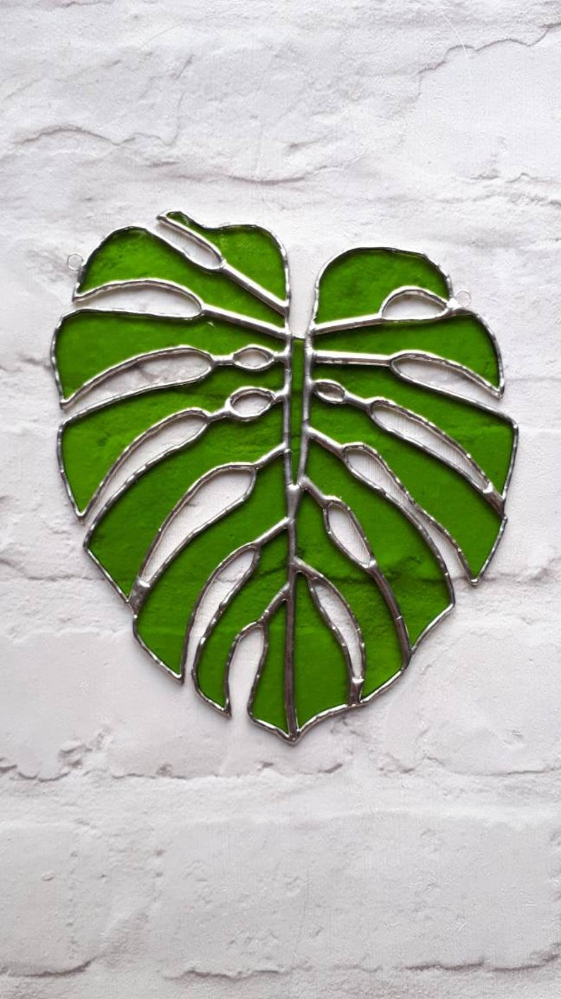 Stained glass Monstera Leaf / Swiss Cheese Plant Suncatcher 5