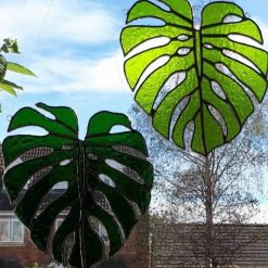 Stained glass Monstera Leaf / Swiss Cheese Plant Suncatcher 9