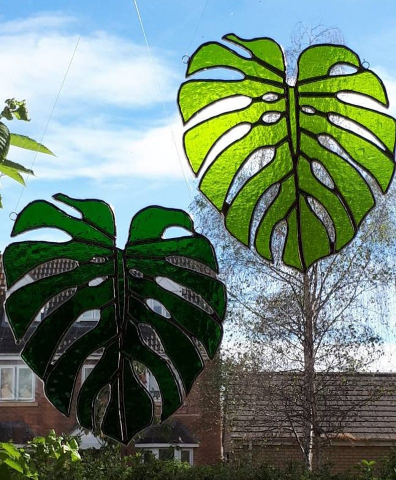 Stained glass Monstera Leaf / Swiss Cheese Plant Suncatcher 4