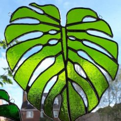 Stained glass Monstera Leaf / Swiss Cheese Plant Suncatcher 8